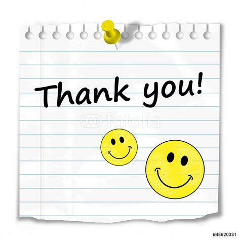 Wall Saying Stickers thank you postit card thanks a lot very much smiley wall