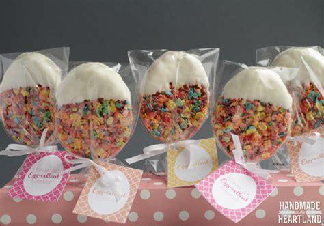 Handmade Treats - fruity pebble easter egg treats with printable handmade