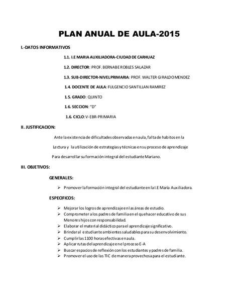 plan anual de trabajo ed inicial 2016 modelo documents plan anual de aula 2015