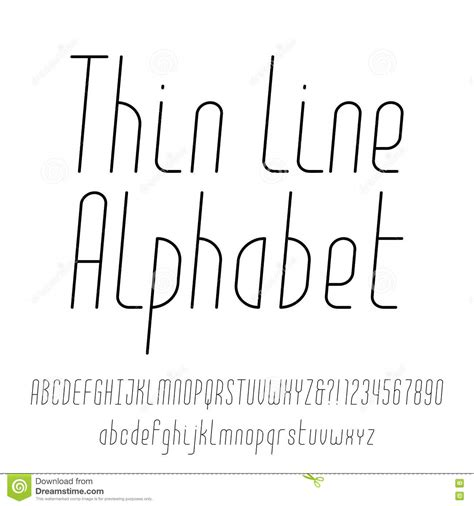 thin decorative font thin line alphabet modern outline typeface stock vector