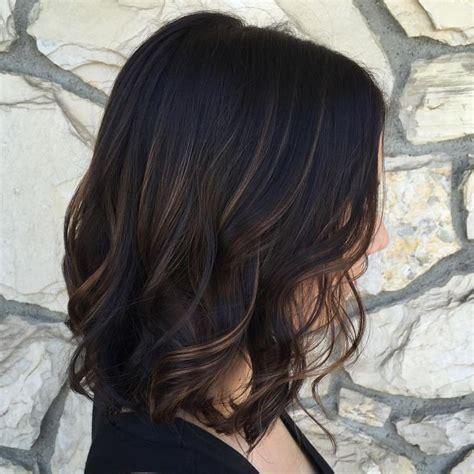 darl hair lob a beautifully subtle balayage with a dark chocolate base