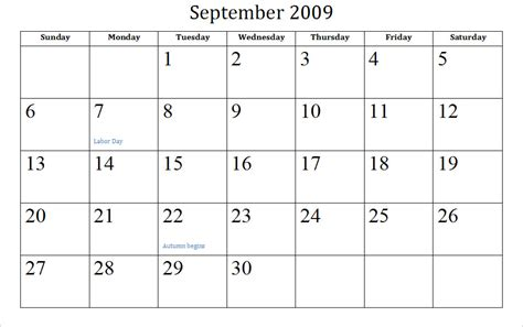 September Calendar September Holidays