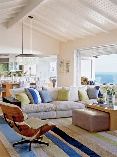 The Vaulted Beamed Ceiling In This Laguna Beach Living Living Room Vaulted Ceiling