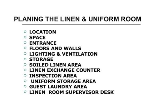 hotel uniform room layout linen room operation