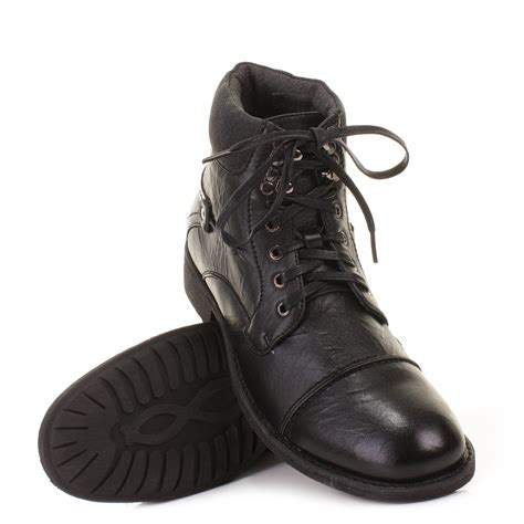 mens black creased leather style lace up ankle