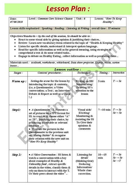 lesson plan   model lesson esl worksheet  medderraz