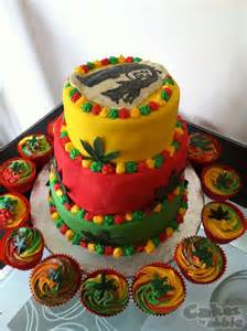 bob marley inspired three tier cake and cupcakes cakes by abbie