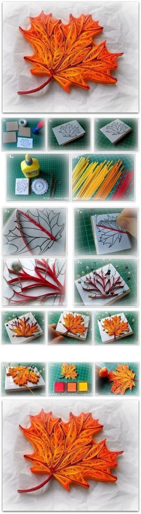 quilling work tutorial how to make quilled maple leaf step by step diy tutorial