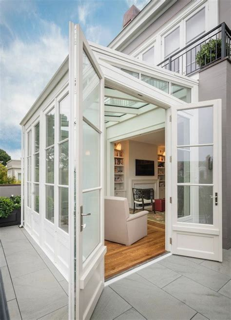 sunroom extension transitional home exterior sutro