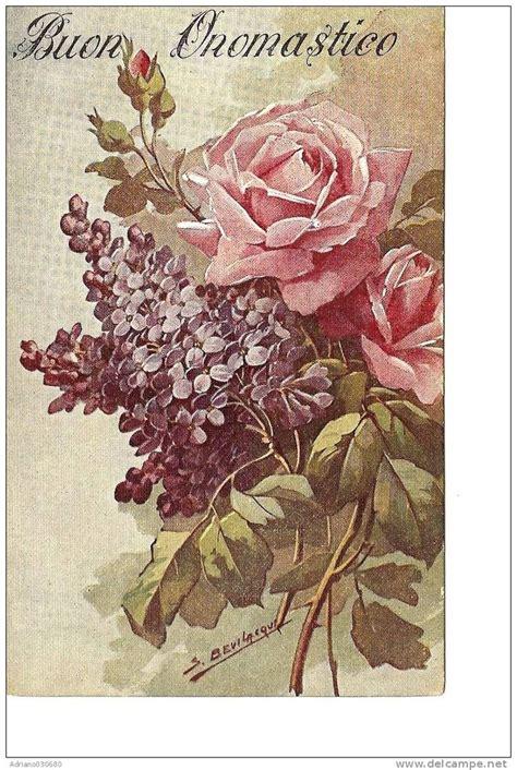 fiore con s cartolina antica di auguri buon onomastico con fiori