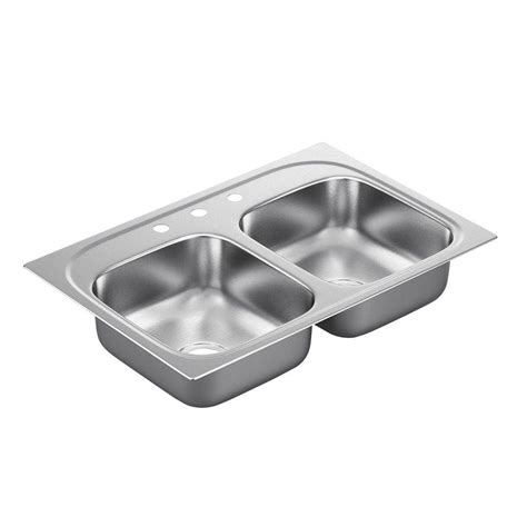 Stainless Steel Drop In Kitchen Sinks Moen 2200 Series Drop In Stainless Steel 33 In 3 Basin Kitchen Sink G222173 The