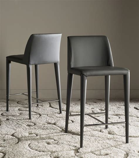 Grey Leather Bar Stool Counter Stools Set Of 2 Grey Leather Safavieh