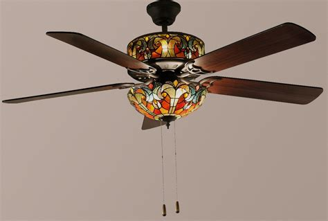 stained glass ceiling fan tiffany style 52 quot halston double lit stained glass ceiling