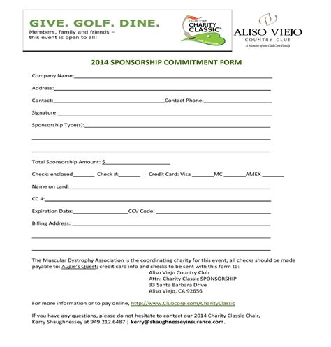 charity commitment letter sponsor sheet form