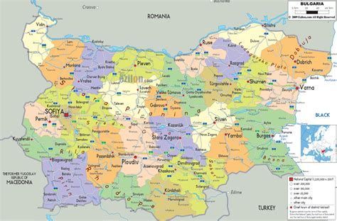 political map  bulgaria ezilon maps