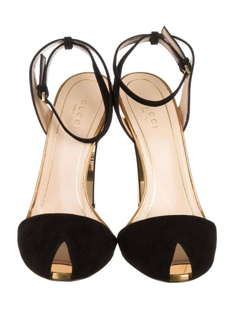 Jual Higheels Gucci Pumps 7 Cm Heels Mirror Quality 11 Original gucci new black suede gold mirror strappy high heels pumps in box at 1stdibs