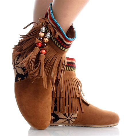tribal pattern ankle boots brown suede boho tribal fringe tassel women flat ankle