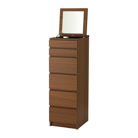 Malm Dresser With Mirror by Malm Chest Of 6 Drawers Brown Stained Ash Veneer Mirror