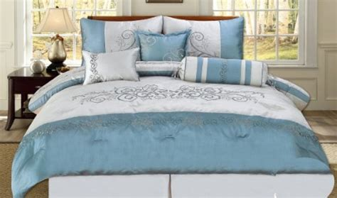 blue and silver bedding brown and blue comforter sets online 7 piece embroidered