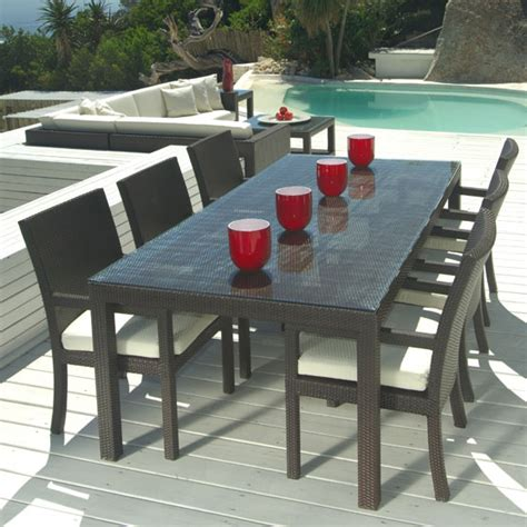 wicker outdoor dining furniture mango home outdoor wicker 7 patio dining set w stackable chairs