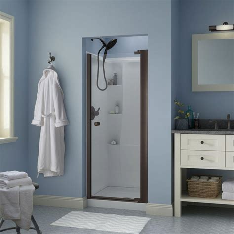 Delta Shower Door Delta Lyndall 33 In X 64 3 4 In Semi Frameless Contemporary Pivot Shower Door In Bronze With
