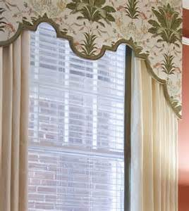 Valances And Cornice Boards Custom Scalloped Cornice Board With Drapery Panels Top