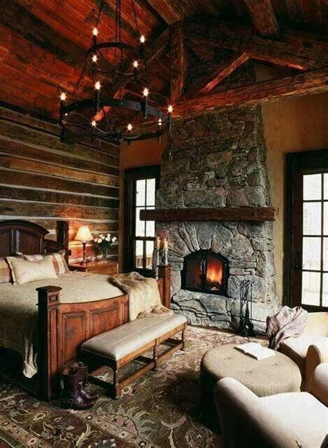 Cozy Bedroom With Fireplace Fireplace My Log Cabin Home