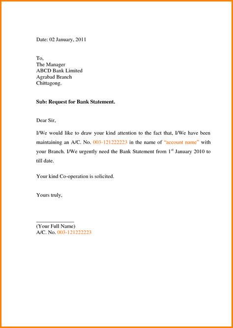 Request Letter Format For Bank 9 Requesting Letter For Bank Statement Resumed