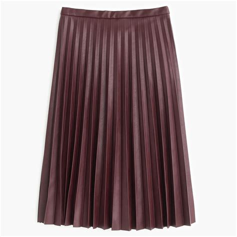j crew faux leather pleated midi skirt in purple lyst