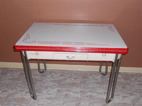 Kitchen Table With Drawer Vintage White W Trim Enamel Porcelain Leaf Kitchen Table W Drawer 1940 S Porcelain