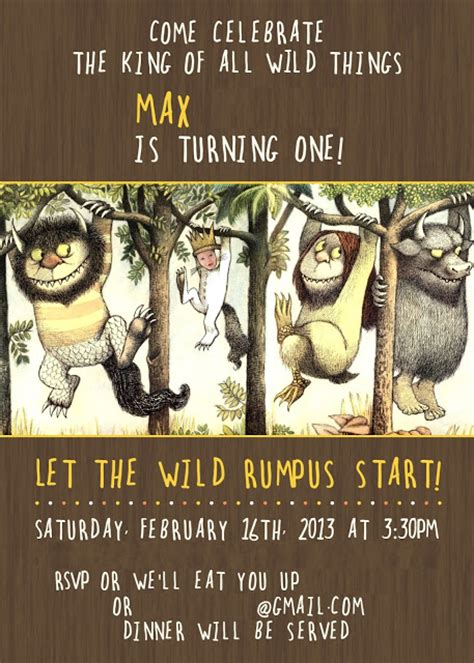 David Jen Max Max S Where The Wild Things Are 1st Birthday Invitation Where The Things Are Birthday Invitation Template