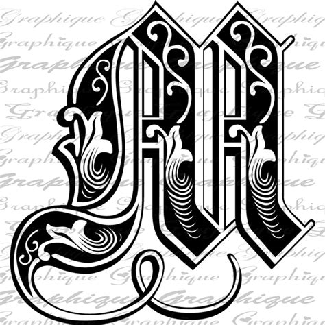 Initial M letter initial m monogram engraving style type text