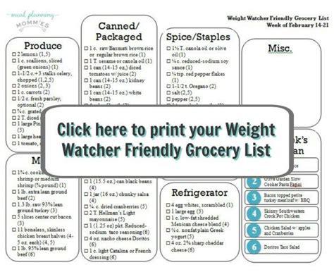 printable weight watchers shopping list 26 best weight watchers calendar meals images on pinterest