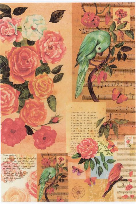 Decoupage L - italy rice paper for decoupage l vintage birds roses rice