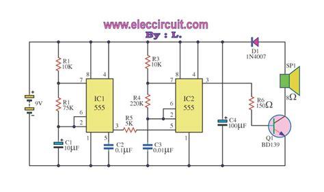 siren circuit diagram electronic 555 100