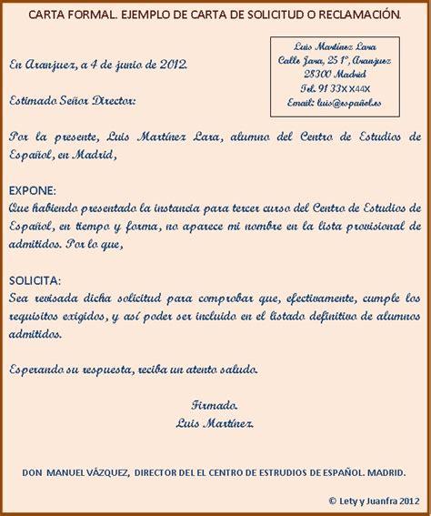 carta formal castellano aprendiendo espa 241 ol con juanfra y lety modelo de carta formal carta de solicitud o reclamaci 243 n