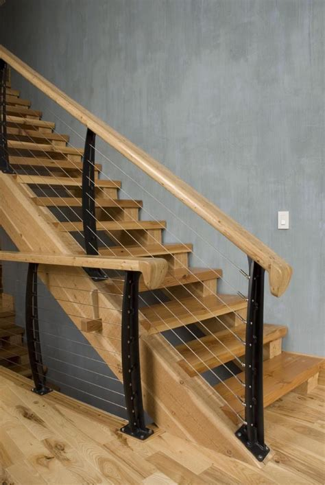 unusual banisters beautiful mountain home made modern with cable railings