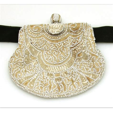 white beaded belt small beaded belt purse in white early 20th