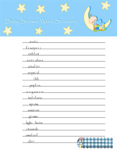 free printable word games for baby showers free printable baby shower word scramble game