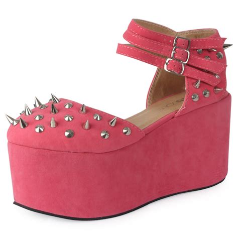 new womens coral pink studded spiked low wedge