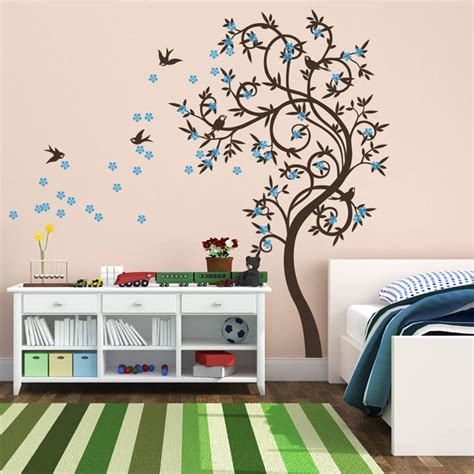 stylish wall stickers stylish curved tree with birds wall sticker by wall
