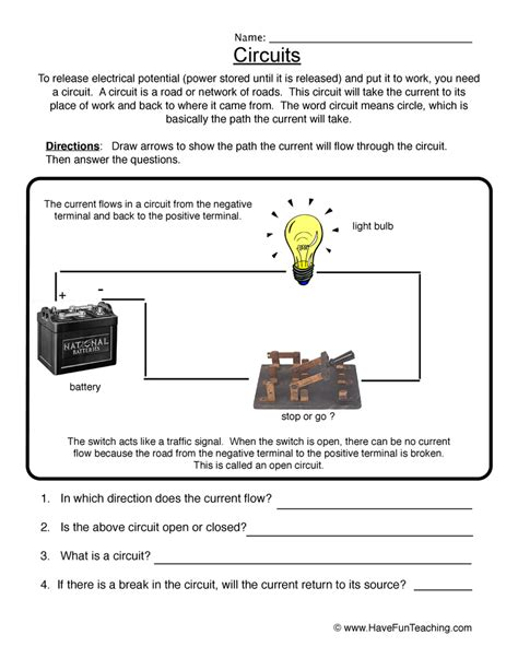 Circuits Worksheet by Electricity Worksheets Teaching