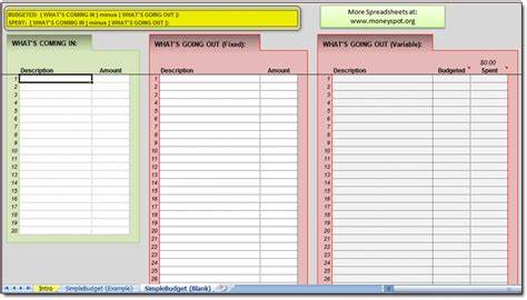 Easy Budget Spreadsheet by Simple Budget Spreadsheet Moneyspot Org
