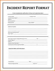 Vehicle Incident Report Form Template 9 example of incident report bussines proposal 2017