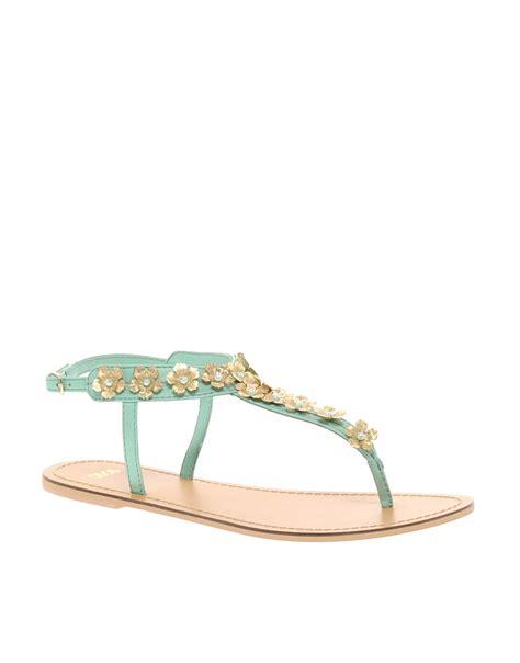mint green sandals asos asos fete flat sandals in green mint lyst