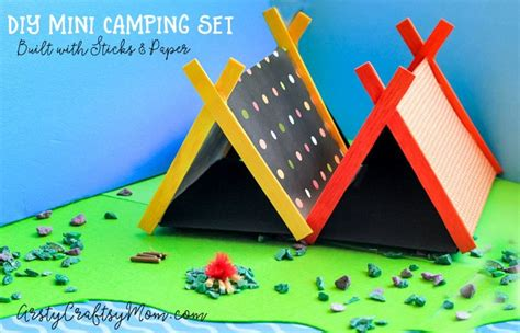 diy mini cing set craft with sticks and paper