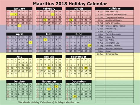 new year vacation schedule 2018 new year mauritius calendar printable
