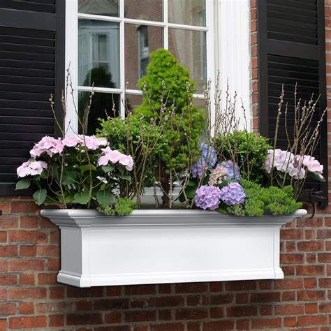 vinyl window flower boxes mayne rectangle vinyl window box white