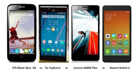 Lenovo A6000 Plus Vs Xiaomi Redmi 2 zte blade qlux vs yu yuphoria vs lenovo a6000 plus vs xiaomi redmi 2 comparison