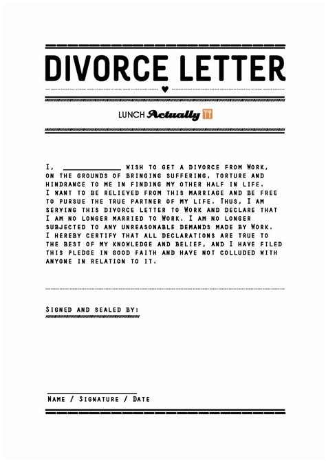 Divorce Settlement Letter Divorce Templates Selimtd